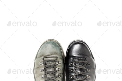 Shoes before and after polish
