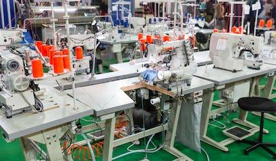 Sewing factory, nobody, overlock machines