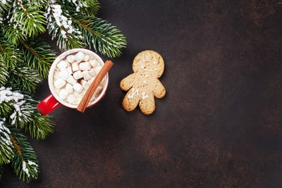 Christmas background with hot chocolate