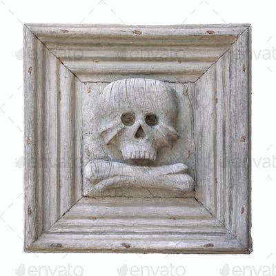 Wooden skull on white background