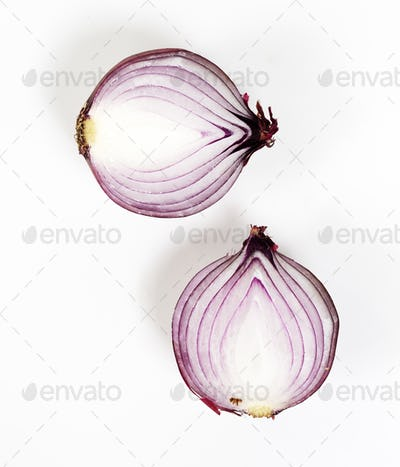 Closeup of red onion on white background
