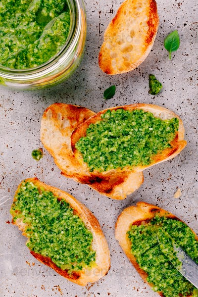 homemade bruschetta with pesto