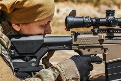 Young female sniper