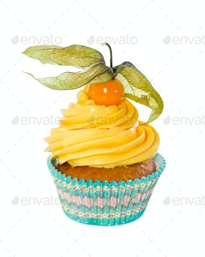 Cupcake with fresh physalis