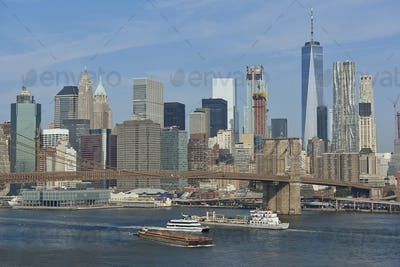 Brooklyn Bridge and New York city in the background