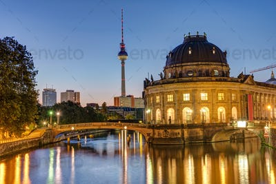 Bode-Museum, Television Tower and Spree river in Berlin