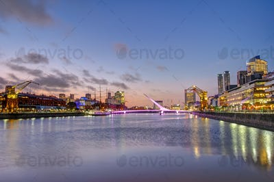 Puerto Madero in Buenos Aires at sunset