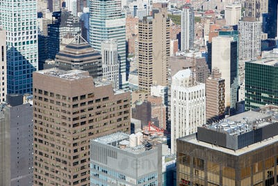 New York City Manhattan aerial view with skyscrapers, sunny day
