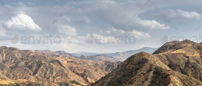 Mountain landscape and sky in Armenia wide screen
