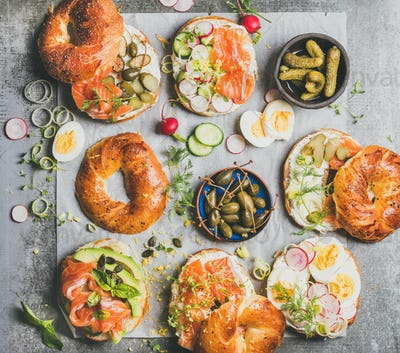 Variety of bagels with different fillings for breakfast or takeaway