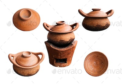 Clay pots on white background