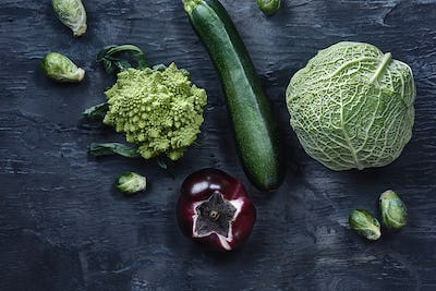 Organic vegetables on wooden table. Top view