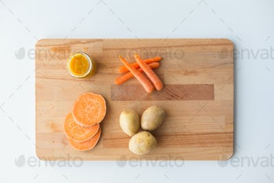 vegetable puree or baby food in glass jar