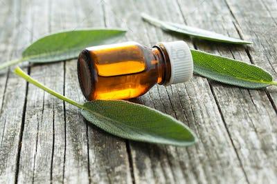 Bottle of essential sage oil.
