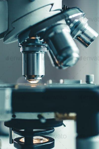 Close-up shot of microscope