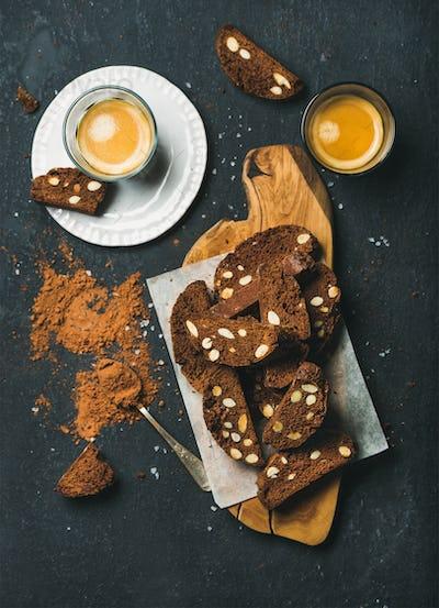 Dark chocolate Biscotti with sea salt, almonds and espresso