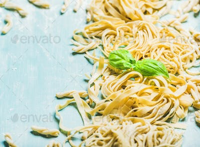 Various homemade fresh Italian pasta with flour and basil leaves