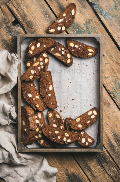 Dark chocolate and sea salt Biscotti with almonds in tray