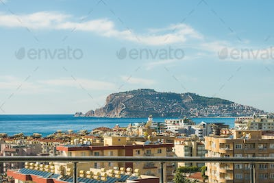View over castle hill of Alanya, Turkey, and Mediterranean sea