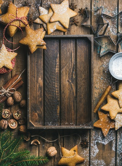 Christmas, New Year background with rustic wooden tray in center