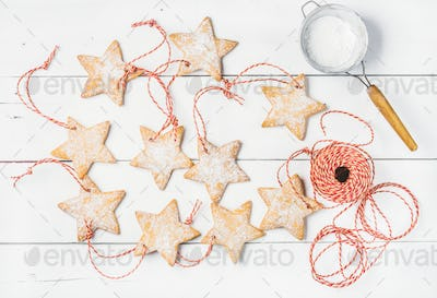 Christmas gingerbread homemade star shaped cookies with sugar powder