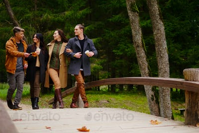 Friends walking over wooden bridge in autumn park