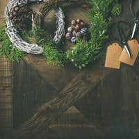 Preparing for Christmas, New Year. Flatlay of holiday decorations