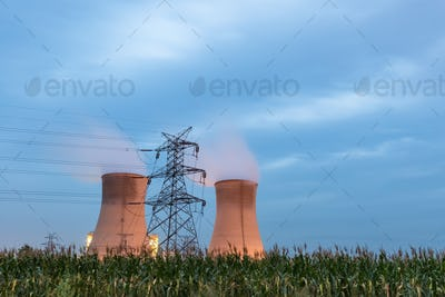 power plant in nightfall