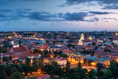 Vilnius, Lithuania. Historic Center Cityscape After Sunset. Old