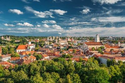 Vilnius, Lithuania. Old Town Historic Center Cityscape Under Dra