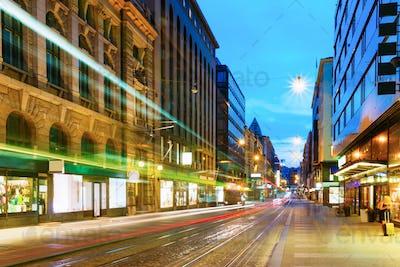 Helsinki, Finland. Tram Departs From A Stop On Street Aleksanter