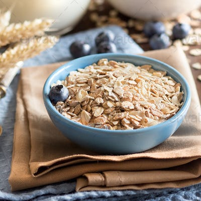 Rolled oats in a bowl with blueberries and milk