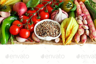 Uncooked mixed quinoa with vegetables