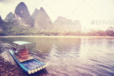 Bamboo raft at Li River, Xingping, China.
