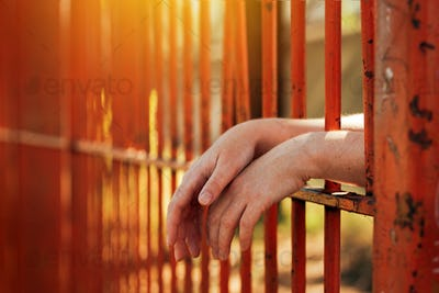 Female hands behind prison yard bars