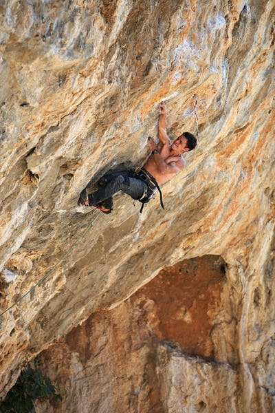 Rock climber on a face of a clif