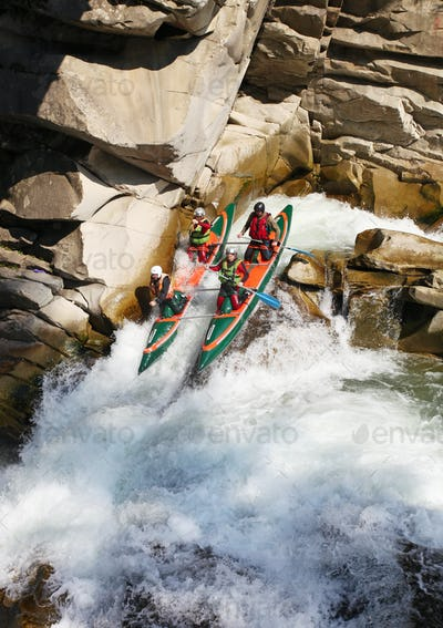 Rafting in rough waters