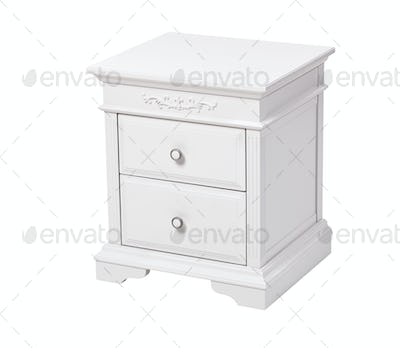 Elegant wooden nightstand isolated over white