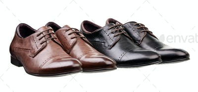 Two pairs of men shoes over white background
