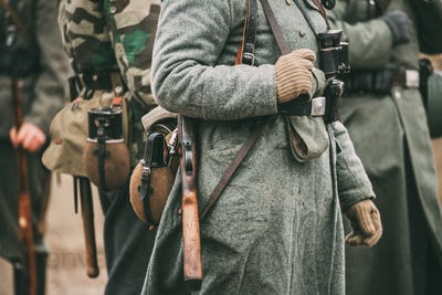 German military ammunition of a German soldier at World War II.