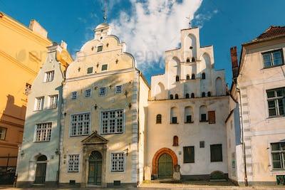 Riga, Latvia. Famous Landmark Three Brothers Buildings. Old Hous