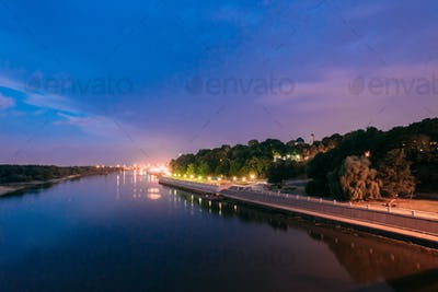 Night View Of Sozh River, Beach, Embankment In Gomel, Homiel, Be