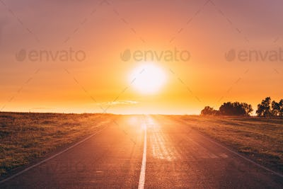 Asphalt Country Open Road In Sunny Morning Or Evening. Open Road