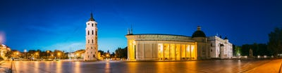 Vilnius, Lithuania, Eastern Europe. Evening Night Panorama Of Be