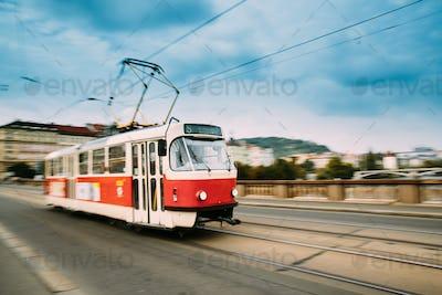 Prague, Czech Republic. Public Old Retro Tram Moving On Bridge I