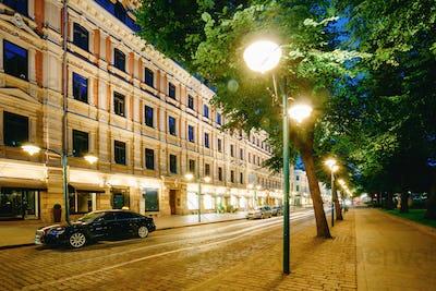 Helsinki, Finland. Luxury Car Parked On Pohjoisesplanadi Street.