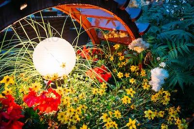 Decorative Small Garden Light, Lanterns In Flower Bed In Green F