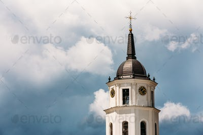 Vilnius, Lithuania. Close Up View Of Bell Tower Of Cathedral Bas