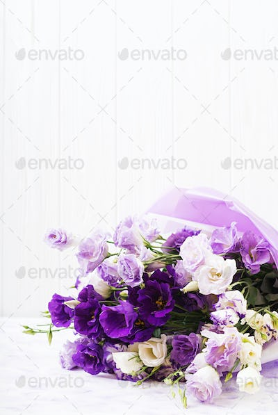 Beautiful flowers bouquet mix of white, purple and violet eustoma.