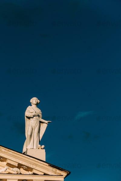 Vilnius, Lithuania. Close View Of Statue Of Saint Casimir Symbol